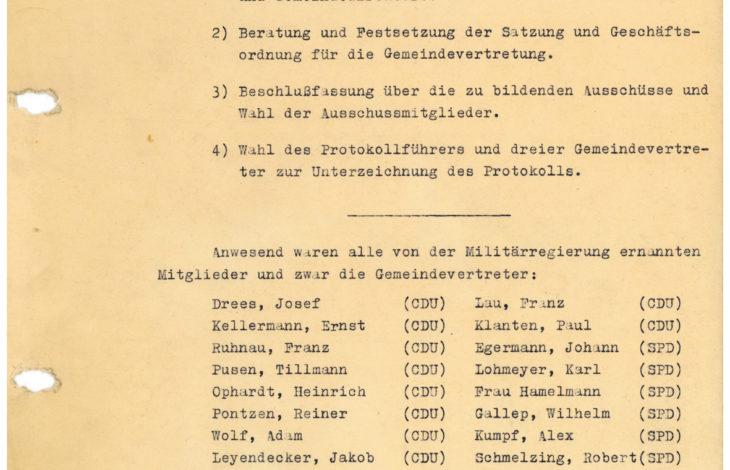 Stadt Kamp-Lintfort – Erste Gemeinderatssitzung nach dem Krieg am 12. Februar 1946