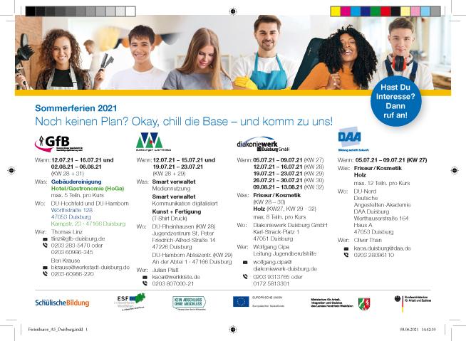 """Stadt Duisburg – Ferienangebote für Jugendliche: """"Eine Woche berufliche Orientierung extra"""""""