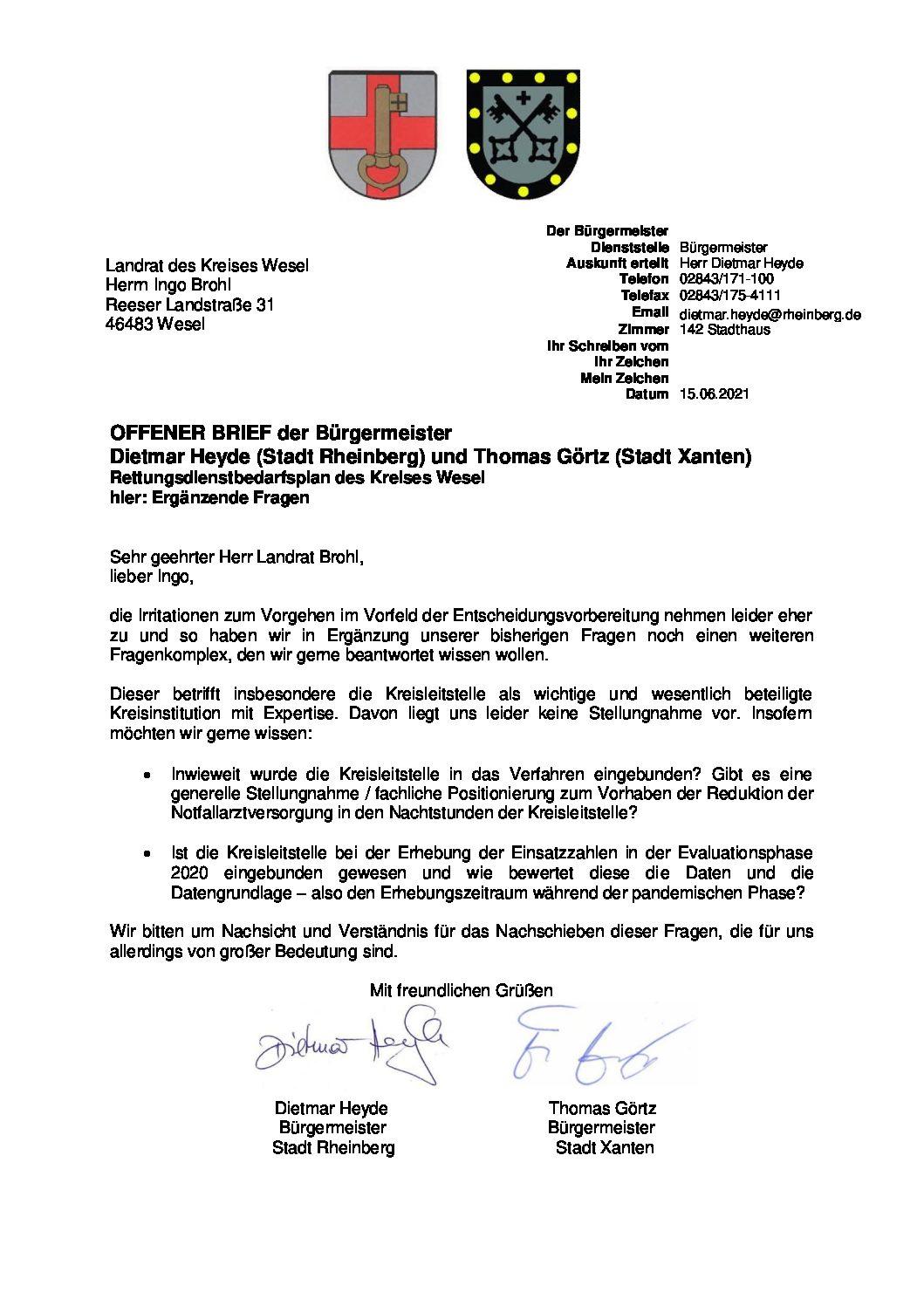 Stadt Rheinberg/ Stadt Xanten – Offener Brief von Heyde und Görtz an den Landrat Ingo Brohl