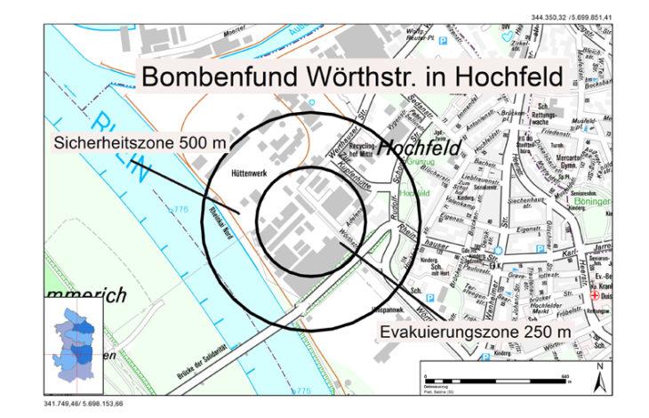 Stadt Duisburg – Britische Fünf-Zentner-Bombe in Duisburg Hochfeld wurde entschärft
