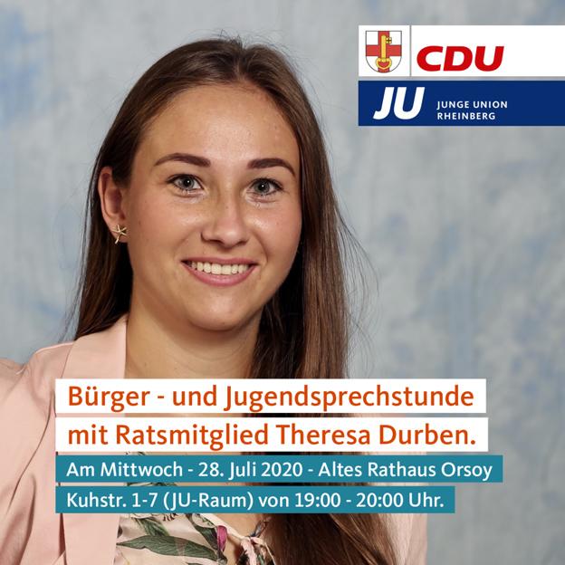 Rheinberg – CDU Rheinberg: Bürger- und JUgendprechstunde mit Ratsmitglied Theresa Durben