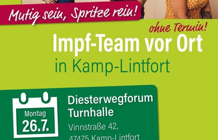 Stadt Kamp-Lintfort – Kreisweite Impfaktion: Impf-Team vor Ort – Mutig sein, Spritze rein